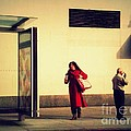Waiting For The Bus - New York City Street Scene by Miriam Danar