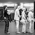 Waiting In Line At Grand Central Terminal 1 - Black And White by Gary Heller