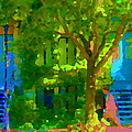 Walk In The City Past Blue Houses Staircases And Shade Trees Montreal Summer Scene Carole Spandau by Carole Spandau