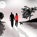 Walking By Moonlight by Peter Stevenson