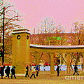 Walking Sherbrooke By Roddick Gates Mcgill Campus View Of Mont Royal Montreal Scenes Carole Spandau  by Carole Spandau