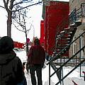 Walking The Dog Through Snowy Streets Of Montreal Urban Winter City Scenes Carole Spandau by Carole Spandau