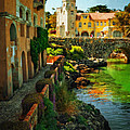 Walkway Along The River - Cascais by Mary Machare