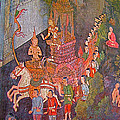 Wall Painting At Wat Suthat In Bangkok-thailand by Ruth Hager