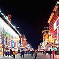 Wangfujing Commercial Street At Night by Songquan Deng