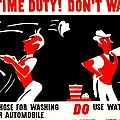 War Poster - Ww2 - Dont Waste Water 2 by Benjamin Yeager