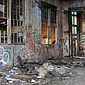 Warehouse Broken Windows And Debris by Anita Burgermeister