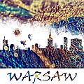 Warsaw Skyline Postcard by Justyna JBJart