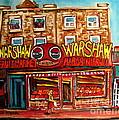 Warshaw's Bargain Fruit Store Rue St Laurent Montreal Paintings City Scene Art Carole Spandau by Carole Spandau