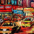 Warshaw's Bargain Fruits Store Montreal Night Scene Jewish Montreal Painting Carole Spandau by Carole Spandau