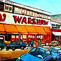 Warshaws Paintings Famous Fruit Store Main Street Montreal Art Prints Originals Commissions Cspandau by Carole Spandau