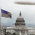Washington Capitol And Blimp by Tony Rubino