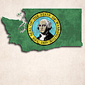 Washington Map Art With Flag Design by World Art Prints And Designs