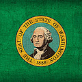 Washington State Flag Art On Worn Canvas by Design Turnpike