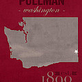 Washington State University Cougars Pullman College Town State Map Poster Series No 123 by Design Turnpike