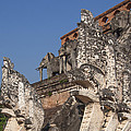 Wat Chedi Luang Phra Chedi Luang Five-headed Naga And Elephants Dthcm0055 by Gerry Gantt