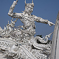 Wat Rong Khun Ubosot Causeway Guardian Dthcr0008 by Gerry Gantt