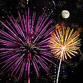 Watching Pink And Gold Explosion - Fireworks And Moon II by Penny Lisowski