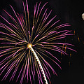 Watching Pink And Gold Explosion - Fireworks And Moon I  by Penny Lisowski