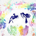 Water Color Bird Fight by Bill Cannon