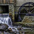 Water Wheel Plimouth Grist Mill At Jenney Pond by Myer Bornstein