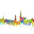 Watercolor Art Print Of The Skyline Of Antwerp In Belgium by Chris Smith