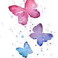 Watercolor Butterflies by Olga Shvartsur
