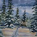 Original Watercolor - Colorado Winter Pines by Cascade Colors