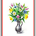 Watercolor Flowers Bouquet In Metal Pitcher Impressionism by Irina Sztukowski