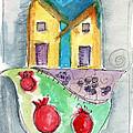 Watercolor Hamsa  by Linda Woods