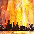 Watercolor Painting Of Skycrapers Of Downtown Chicago As Viewed  by Ryan Fox