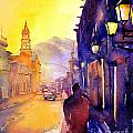 Watercolor Painting Of Street And Church Morelia Mexico by Ryan Fox