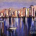 Watercolor Painting Of Vancouver Skyline by Ryan Fox