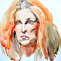Watercolor Portrait Of A Mad Redhead by Greta Corens