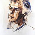 Watercolor Portrait Sketch Of A Man In Monochrome by Greta Corens