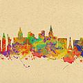 Watercolor Skyline Of Las Vegas Nevada  Usa by Chris Smith