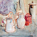 Watercolor Still Life With Red Can by Greta Corens