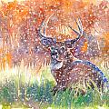 Watercolour Painting Of A Stag In The Snow by Gill Bustamante