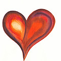 Watercolour Painting Of Colorful Abstract Heart by Kerstin Ivarsson