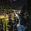 Waterfall And Mountain In Jasper by Viktor Birkus
