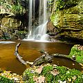 Waterfall With Autumn Leaves by David Head