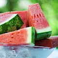Watermelon Wedges In A Bowl Of Ice Cubes by Foodcollection