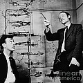 Watson And Crick With Dna Model by A Barrington Brown