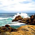 Waves Crashing On Shoreline Rocks by Elaine Plesser