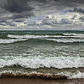 Waves Crashing On The Shore In Sturgeon Bay At Wilderness State Park by Randall Nyhof
