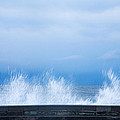 Waves Crashing Over Seawall In Scarborough by Ian Middleton