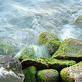 Waves On Mossy Rocks by Deborah Smolinske