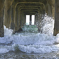 Waves Under The Pier Portrait by SAJE Photography