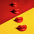 Waxed Lips Against Yellow And Red by Naila Ruechel