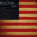 We The People - The Us Constitution With Flag - Square by Wingsdomain Art and Photography